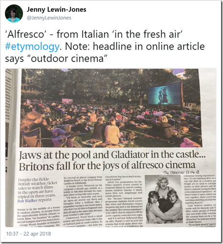 "'Alfresco' - from Italian 'in the fresh air' #etymology. Note: headline in online article says ""outdoor cinema"""