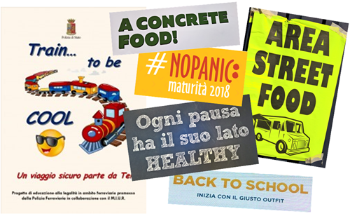esempi di anglicismi superflui: train to be cool, a concrete food, no panic, ogni pausa ha il suo lato healthy, back to school con il giusto outfit, area street food