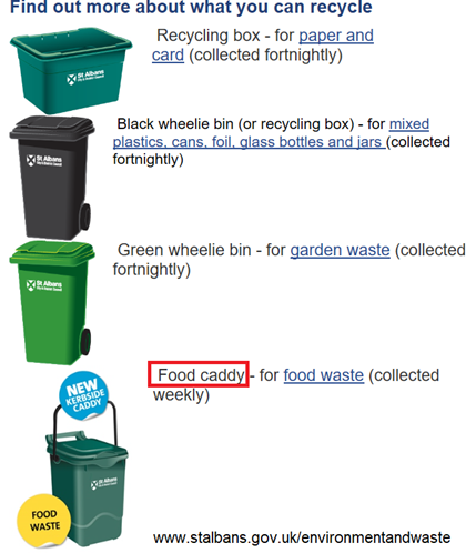 descrizione di vari tipi di contenitori per la raccolta differenziata. Nello specifico: food caddy - for food waste