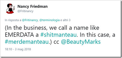 "tweet di @Fritinacy: ""(in the busness, we call a name like EMERDATA a #shitmanteau. I this case, a #merdemanteau)""."
