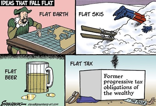 Vignetta che illustra i concetti di flat earth, flat skis, flat beer e flat tax