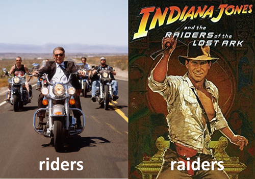immagine 1 Harrison Ford e altri motociclisti, immagine 2 locandina americana del film Indiana Jones e i predatori i predatori dell'arca perduta (raiders of the lost ark)
