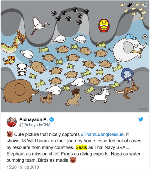tweet di @PichayadaCNA che descrive vignetta con varie metafore animali: Cute picture that nicely captures #ThamLuangRescue. It shows 13 'wild boars' on their journey home, escorted out of caves by rescuers from many countries. Seals as Thai Navy SEAL. Elephant as mission chief. Frogs as diving experts. Naga as water pumping team. Birds as media