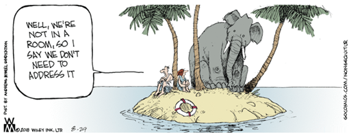 "Vignetta: minuscola isola deserta con un elefante e due persone, con una che dice all'altra ""Well, we're not in a room, so I say we don't need to address it"""