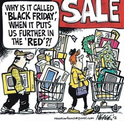 "Vignetta: mentre spingono carrelli colmi di acquisti, marito chiede alla moglie ""Why is it called 'Black Friday' when it puts us furhter in the 'RED'?!"""