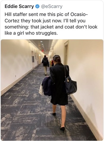 Hill staffer sent me this pic of Ocasio-Cortez they took just now. I'll tell you something: that jacket and coat don't look like a girl who struggles.