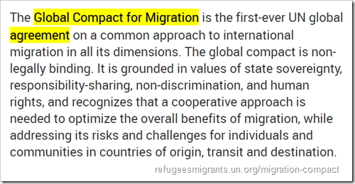 The Global Compact for Migration is the first-ever UN global agreement on a common approach to international migration in all its dimensions. The global compact is non-legally binding. It is grounded in values of state sovereignty, responsibility-sharing, non-discrimination, and human rights, and recognizes that a cooperative approach is needed to optimize the overall benefits of migration, while addressing its risks and challenges for individuals and communities in countries of origin, transit and destination.