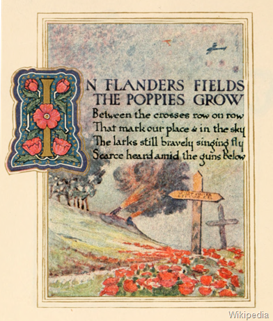 In Flanders fields the poppies grow     Between the crosses, row on row,   That mark our place; and in the sky    The larks, still bravely singing, fly  Scarce heard amid the guns below.