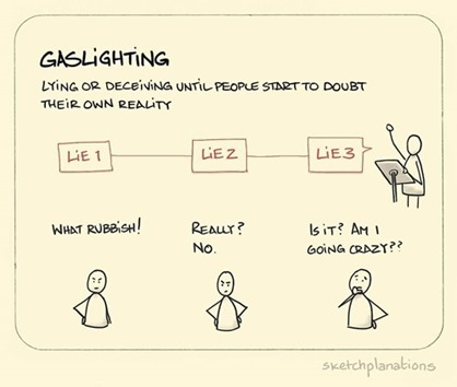 gaslighting: lying or deceiving until people start to doubt their own reality