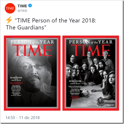 "tweet di @TIME:  ""TIME Person of the Year 2018: The Guardians"""