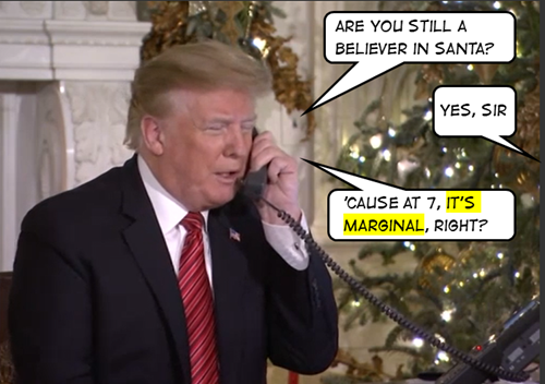 "Trump: ""Are you still a believer in Santa?"" Bambina: ""Yes, sir"" Trump: ""Because at seven, it's marginal, right?"""