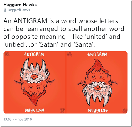 An ANTIGRAM is a word whose letters can be rearranged to spell another word of opposite meaning—like 'united' and 'untied'...or 'Satan' and 'Santa'.
