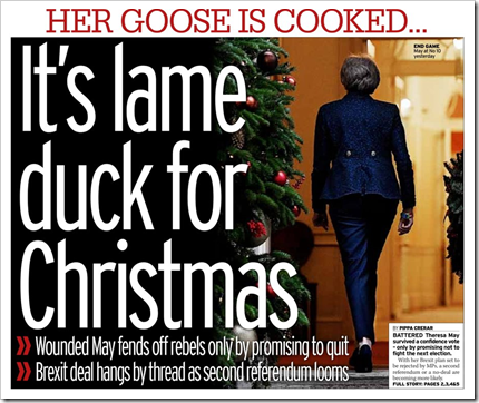 Her goose is cooked,,, It's lame duck for Christmas