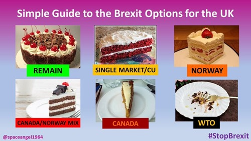 Diverse immagini di torte che illustrano Remain, Single Market, Norway, Canada-Norway mix, Canada, WTO
