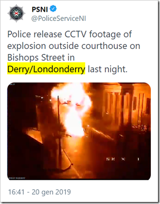 tweet Police Service Northern Ireland: Police release CCTV footage of explosion outside courthouse on Bishops Street in Derry/Londonderry last night