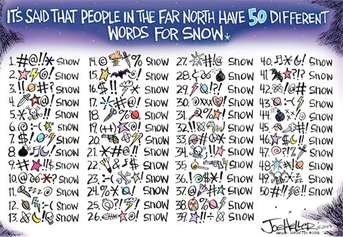 It's said that people in the far North have 50 different words for snow