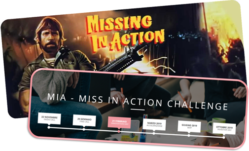 Missing in Action (film con Chuck Norris) vs Miss in Action Challenge (concorso per startup di donne)