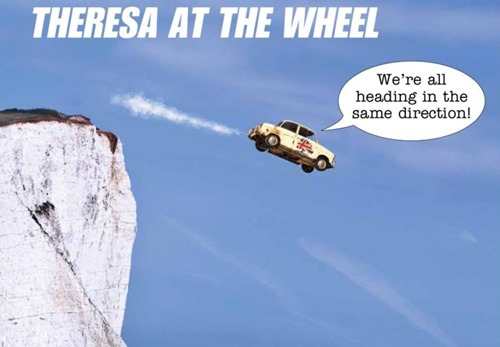 vignetta con scena di auto alla Thelma e Louise e didascalia Theresa at the wheel
