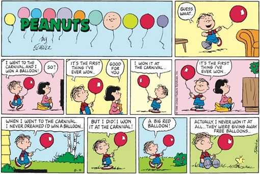 Linus da Lucy con un palloncino rosso: I went to the carnival and I won a balloon