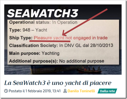 Sea Watch 3, type: 948 – Yacht; Ship Type: Pleasure yacht not engaged in trade; main purpose: yachting