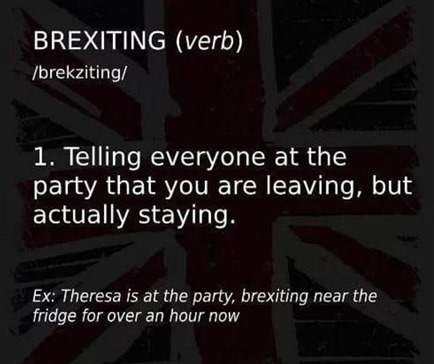 Brexiting, verb: 1) telling everyone at the party that you are leaving, but actually staying. Example: Theresa is at the party, brexiting near the fridge for over an hour now.