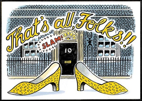 That't all. folks vignetta delle scarpe leopardate di Theresa May davanti a 10 Downing Street)