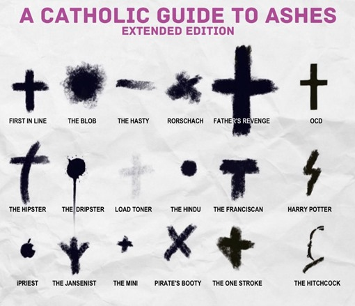 "A Catholic Guide to ashes: forme diverse di croci e altri segni neri che vanno da ""first in line"" (forma canonica) a ""load toner"" (grigio pallido), ""the hindu"" (cerchietto), ""Harry Potter"" (fulmine), ""iPriest"" (logo Apple"") ecc."