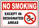 cartello NO SMOKING except in designated areas