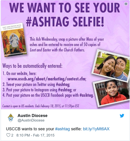 "WE WANT TO SEE YOUR #ASHTAG SELFIE! This Ash Wednesday, snap a picture after Mass of your ashes and be entered to receive one fo 50 copies of ""Lent and Easter with the Church Fathers"""