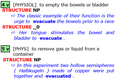 4 [physiol]  to empty the bowels or bladder  5 [phys]  to remove gas or liquid from a container