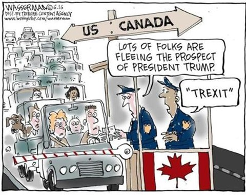 "coda di auto al confine USA-Canada. Doganiere commenta: ""Lots of folks are fleeing at the prospect of President Trump"" e il collega risponde ""Trexit"""