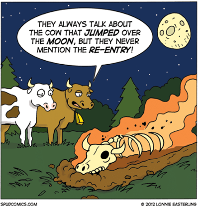 "Due mucche che guardano scheletro di bovino avvolo dalle fiamme: ""They alway talk about the cow that jumped over the moon, but they never mention the re-entry!"""