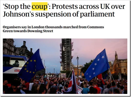 """Stop the coup"": Protests across UK over Johnson's suspension of parliament. Organisers say in London thousands marched from Commons Green towards Downing Street"