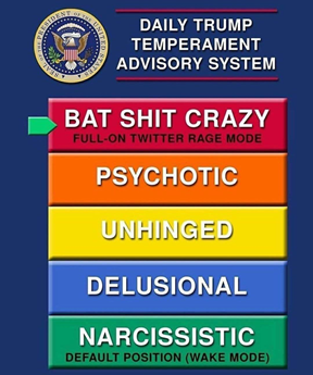Daily Trump Temperament Advisory System: 1 Narcissistic 2 Delusional 3 Unhinged 4 Psychotic 5 Bat shit crazy (full-on Twitter rage mode)