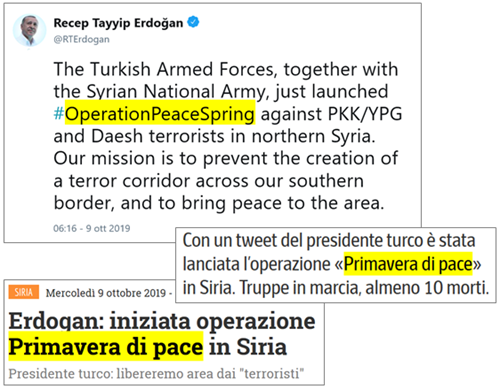tweet del presidente turco Erdogan: The Turkish Armed Forces, together with the Syrian National Army, just launched #OperationPeaceSpring against PKK/YPG and Daesh terrorists in northern Syria. Our mission is to prevent the creation of a terror corridor across our southern border, and to bring peace to the area.