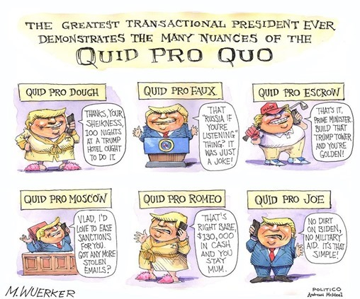 The greatest transactional president ever demonstrates the many nuances of the quid pro quo