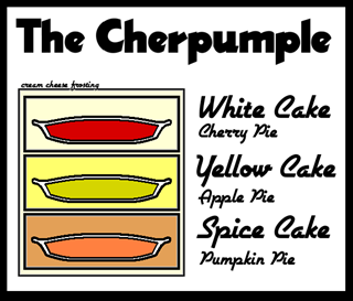(white cake + cherry pie) + (yellow cake + apple pie) + (spice cake + pumpkin pie) il tutto coperto da una glassa, creamcheese frosting