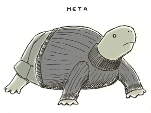 Meta, A Turtle Wearing A Turtleneck Sweater