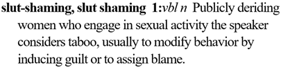 slut shaming: publicly deriding women who engage in sexual activity the speaker considers taboo, usually to modify behavior by inducing guilt or to assign blame