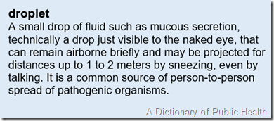 A small drop of fluid such as mucous secretion, technically a drop just visible to the naked eye, that can remain airborne briefly and may be projected for distances up to 1 to 2 meters by sneezing, even by talking. It is a common source of person-to-person spread of pathogenic organisms.