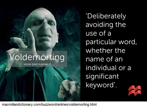 """Deliberately avoiding the use of a particular word, whether the name of an individual or a significant keyword"""