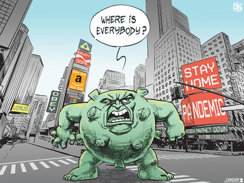 "Vignetta con un coronavirus gigante, tipo King Kong, che si aggira per le strade deserte di New York, chiedendosi ""Where is everybody?"". Sullo sfondo cartelli con STAY HOME e PANDEMIC"