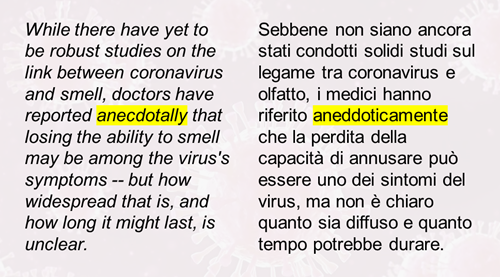 "Testo inglese: ""doctors have reported anecdotally that losing the ability to smell may be among the virus's symptoms -- but how widespread that is, and how long it might last, is unclear"". Traduzione italiana: ""Sebbene non siano ancora stati condotti solidi studi sul legame tra coronavirus e olfatto, i medici hanno riferito aneddoticamente che la perdita della capacità di annusare può essere uno dei sintomi del virus, ma non è chiaro quanto sia diffuso e quanto tempo potrebbe durare""."