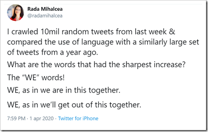"tweet di Rada Mihalcea: I crawled 10mil random tweets from last week & compared the use of language with a similarly large set of tweets from a year ago. What are the words that had the sharpest increase? The ""WE"" words! WE, as in we are in this together. WE, as in we'll get out of this together."