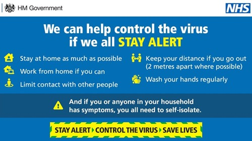 Indicazioni del governo britannico e del servizio sanitario nazionale (NHS): We can help control the virus if we all stay alert.