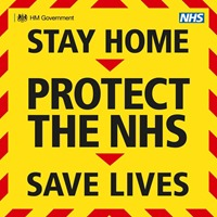 Vecchio sloga: STAY HOME, PROTECT THE NHS, SAVE LIVES
