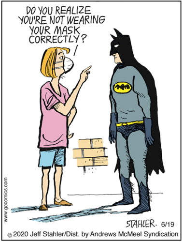 "Vignetta in cui una donna con mascherina dice a Batman ""Do you realize you're not wearing your mask correctly?"""