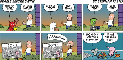 striscia di Pearls Before Swine in cui il costume di Halloween più terrificante è quello di Pig e Rat travestiti da calendario 2020