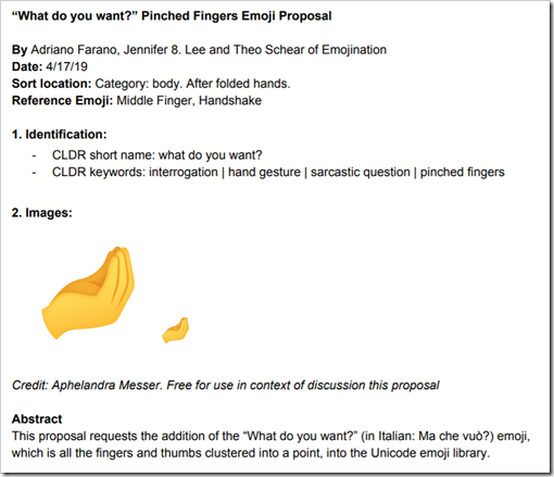 Pinched Fingers Emoji Proposal. Keywords: interrogation, hand gesture, sarcastic question, pinched fingers