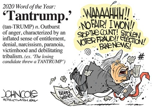 Tantrump: outburst of anger, characterized by an inflated sense of entitlement, denial, narcissism, paranoia, victimhood and debilitating tribalism.